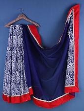 Blue Net & Jute Zari Embroidered Saree - Suchi Fashion