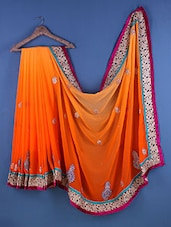 Orange Chiffon Paisley Embroidered Saree - Suchi Fashion