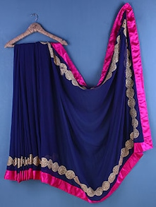 Blue Chiffon Zari Embroidered Saree - Suchi Fashion