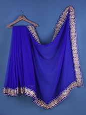 Blue Chiffon Floral Embroidered Saree - Suchi Fashion