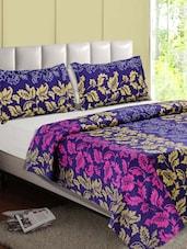 Purple-Multicolor Leaf Printed Cotton Double Bedsheet - Desi Connection