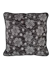 Black Base With White Floral Printed Cushion Covers - Desi Connection