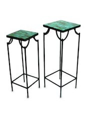 Glass Mosaic Detailed Curio Tables (Set Of 2) - Inspired Livingg