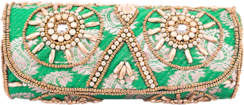 Green Embellished Paisley Base Round Clutch