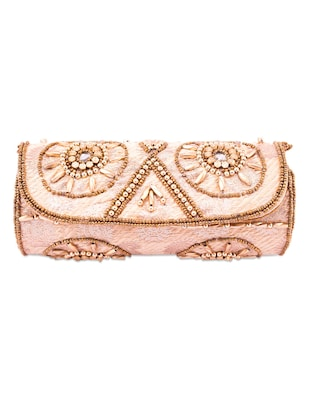 Golden Beads Embellished Round Clutch
