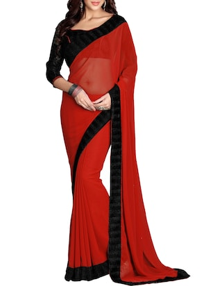red faux georgette bordered saree with blouse