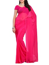 Dark Pink Georgette Saree - Ambaji