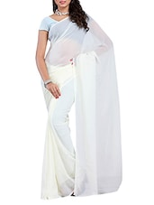 Plain White Georgette Saree - Ambaji