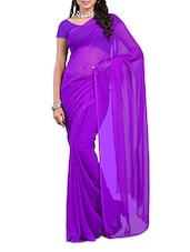 Purple Plain Georgette Saree - Ambaji