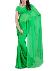 Green Plain Georgette  Saree - Ambaji
