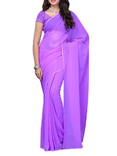 Lilac Plain Georgette Saree - Ambaji