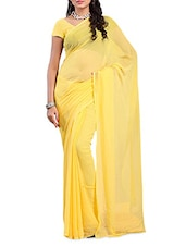 Pale Yellow Plain Georgette Saree - Ambaji