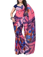 Pink  Multi Printed Georgette Saree - Ambaji