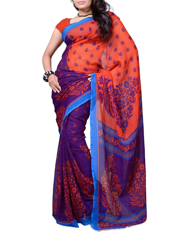 Purple & Orange Printed Georgette Saree - Ambaji