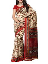 Multi Color Tribal Printed Bhagalpuri Silk Saree - Ambaji