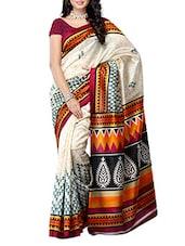 Multi Color Ethnic Printed Bhagalpuri Silk Saree - Ambaji