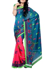 Multi Color Paisley Printed Sheer Georgette Saree - Ambaji