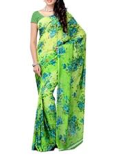 Multi Color Floral Printed Chiffon Saree - Ambaji