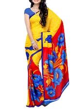 Yellow Floral Printed Georgette Saree - Ambaji