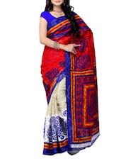 White & Red Printed Jacquard Saree - Ambaji
