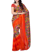 Multi Color Floral Printed Weightless Georgette Saree - Ambaji