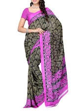 Floral Border Pink & Black Printed Georgette Saree - Ambaji