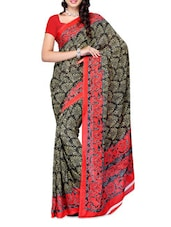 Floral Border Red & Black Printed Georgette Saree - Ambaji