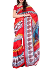 Printed Multi Color Georgette Saree - Ambaji