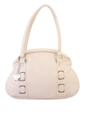 Off White Leatherette Handbag - BUTTERFLIES
