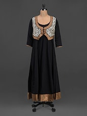 Black Long Kurta With Waist Coat Detail - Lubaba