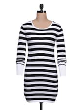 White & Black Striped  Dress - Thegudlook