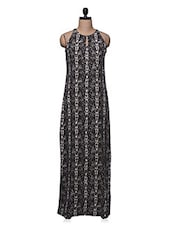 Brown Printed Maxi Dress - Thegudlook