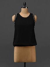 Black Embellished Sleeveless Georgette Top - Stykin