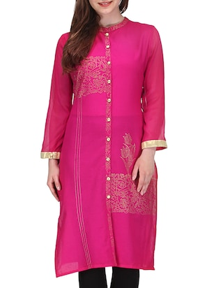 fuschia cotton kurta