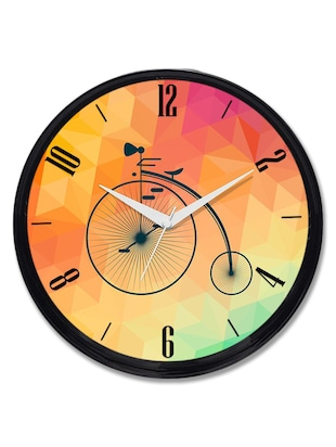 Cartoonpur Analog Round 11 Inch Vintage Bicycle Wall Clock with Glass