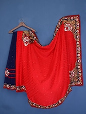 Embellished Navy Blue And Red Georgette Saree - Admyrin