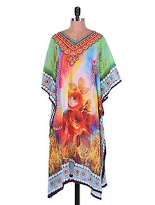 Multicoloured Asymmetrical Printed Georgette Kurti - Admyrin