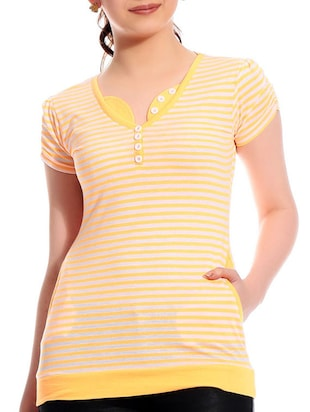 Striped cotton short sleeves top