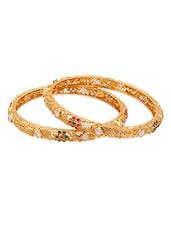 Golden Bangles With Crystals & Coloured Stones - Voylla