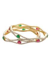 Crystals, Pink & Green Stones Embellished Bangles Set - Voylla