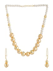 Pearl Beaded Gold Tone Necklace Set - Voylla