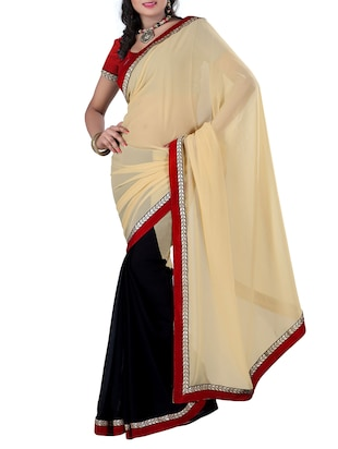 beige & black georgette saree