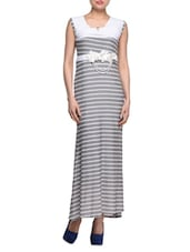 Striped Grey Sleeveless Maxi Dress - London Off