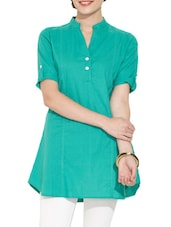 Green Cotton Button-Up Sleeves Tunic - Victor Brown