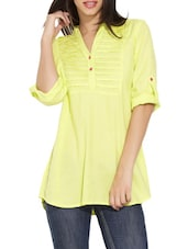 Yellow Pintuck Yoke Button-Up Sleeves Tunic - Victor Brown