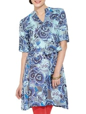 Blue Floral Printed Kurti - Victor Brown