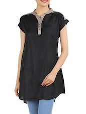 Black- Grey Cotton Viscose Color Block  Tunic - Victor Brown