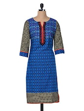 Embroidered Cotton Blue Kurta - Inara Robes