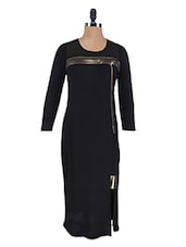 Black Zip Detailed Side Slit Viscose Dress - Paschime