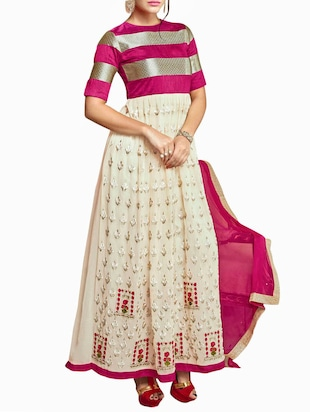 Beige and Hot Pink  Banglore Silk and Georgette Semi-Stitched Salwar Kameez